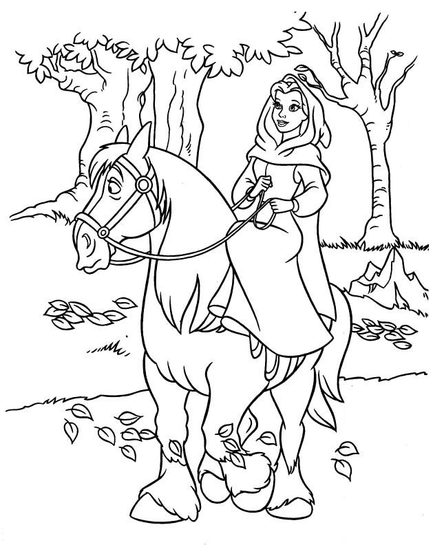 Princess Belle Riding Horse Coloring Pages