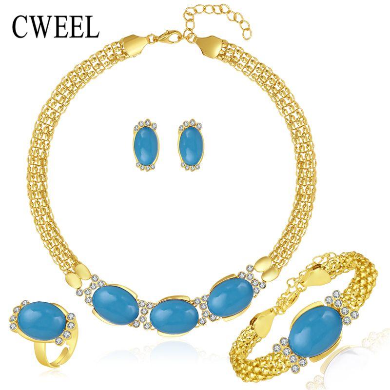 Imitated Blue Afrikanische Perlen Hals Schmuck Sets Für Frauen Hochzeit Braut Anhänger Aussage Halskette Ohrringe Zubehör