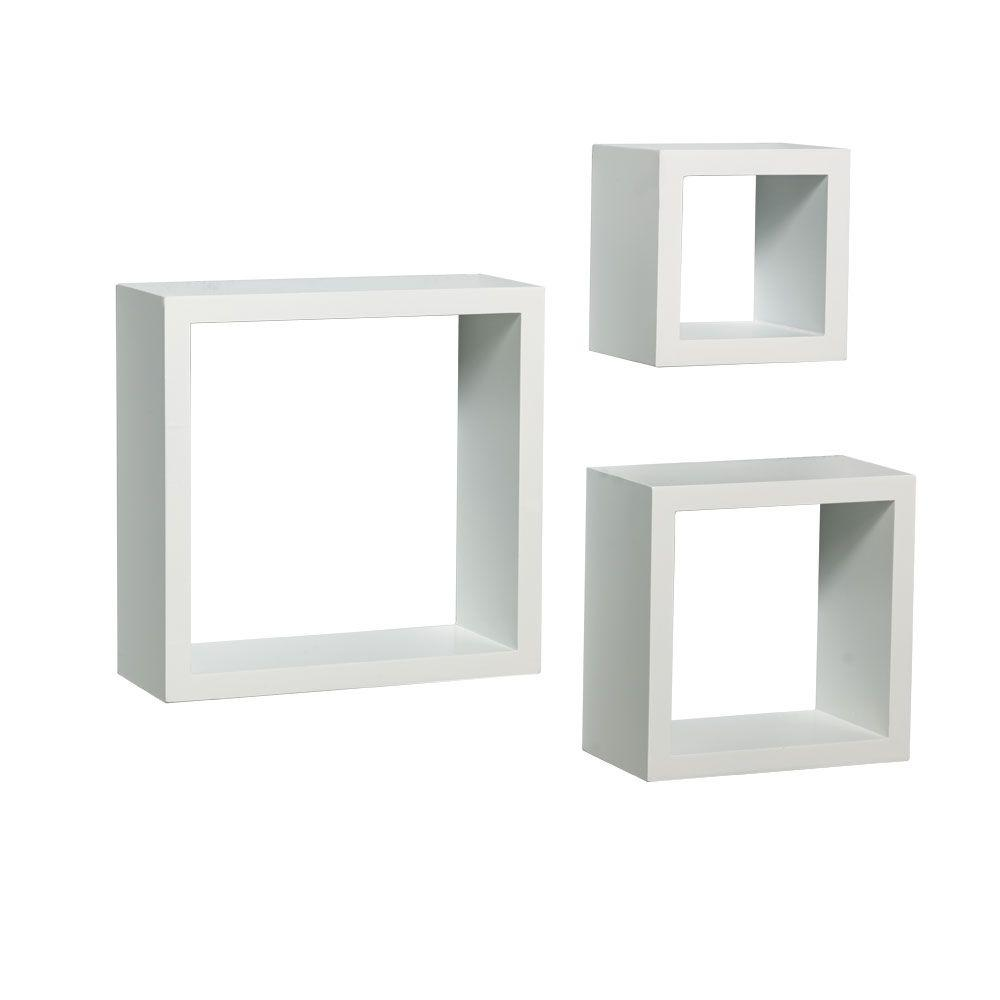 Knape Vogt 9 In W X 4 In D Wall Mounted White Shadow Box Decorative Shelf Kit 3 Piece 240 Wt The Home Depot White Shadow Box Wooden Wall Shelves White Wall Mounted Shelves