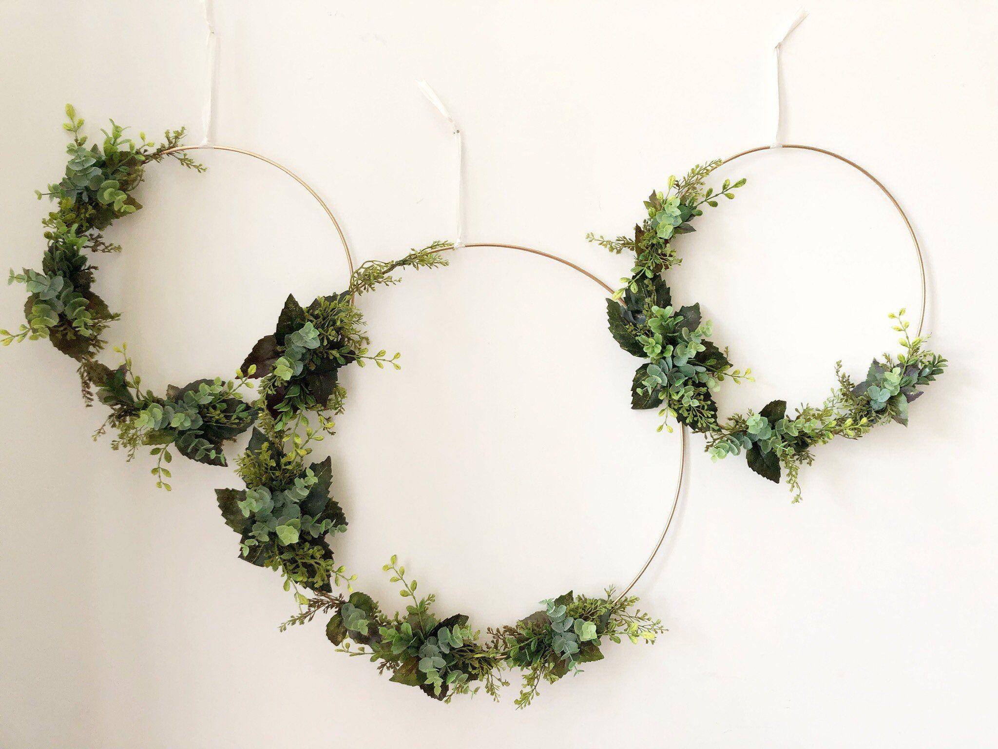 """Photo of Set of 3 – Nursery Floral Hoop Wreaths, 19 """", 14"""", and 12 """", Floral Wreaths For Nursery, Nursery Wall Decor, Greenery Hoop Wreaths"""