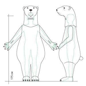 заказ костюм талисмана дизайн полярный медведь