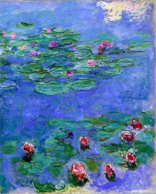 Water Lilies Red by Claude Monet (via @lonequixote)
