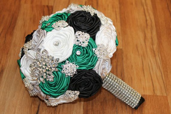 Emerald Green Black Silver White Small Crystal By Heybouquet