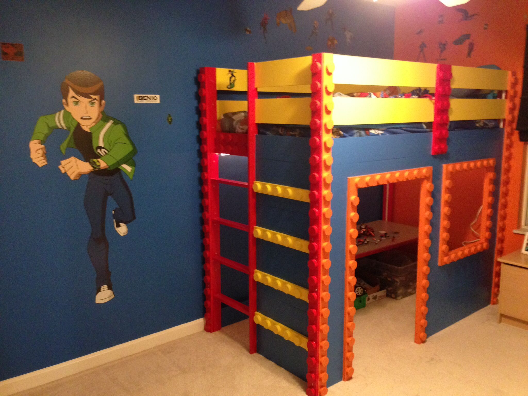 My son 39 s lego themed loft bed i created completed for Furniture for toddlers room