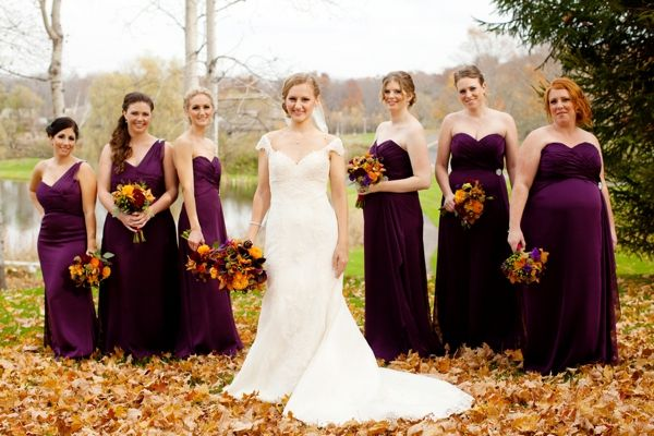 A S Love Story Accompanies This Purple And Orange New England Fall Wedding With Deep Plum