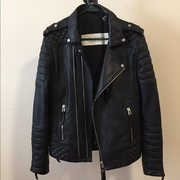Diamond Quilted Kay Michael Soft Leather Mens Black Biker