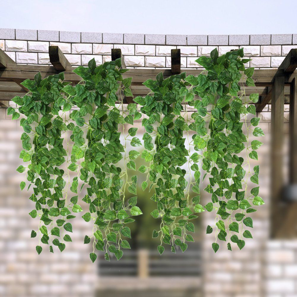 Amazon.com - Atificial Fake Hanging Plant Leaves Garland Home Garden ...