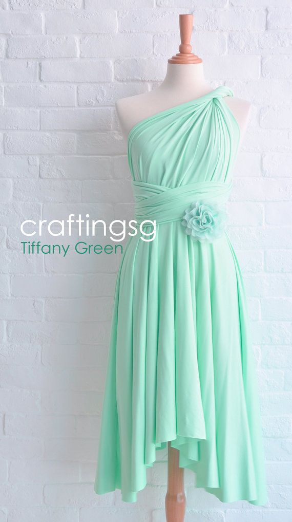 Bridesmaid Dress Infinity Seafoam Green Knee Length