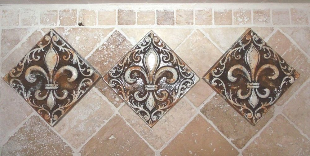 Fleur de lis french country cast stone tile wall plaque ii ...