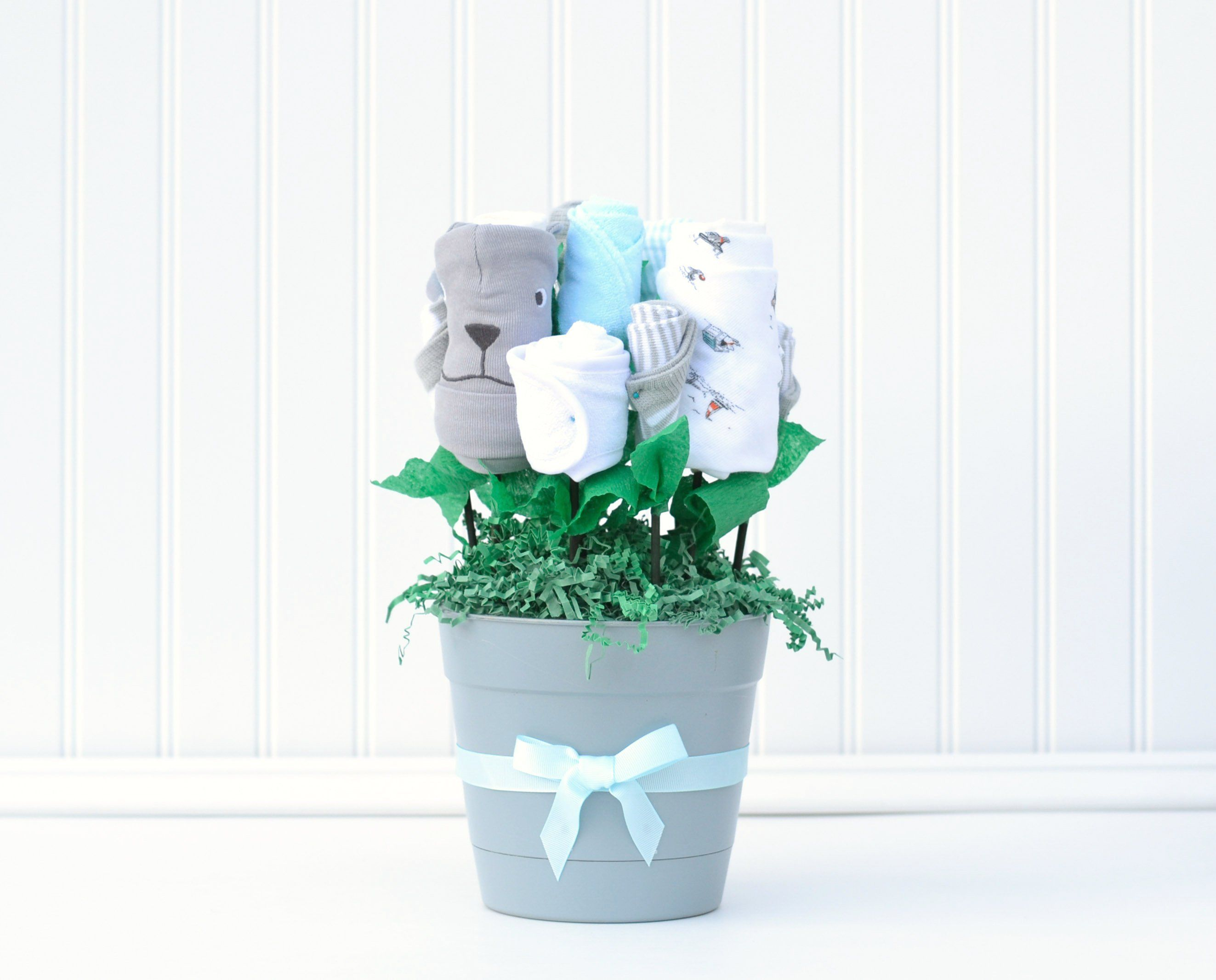 Baby boy clothing flower bouquet, unique baby shower gift ...