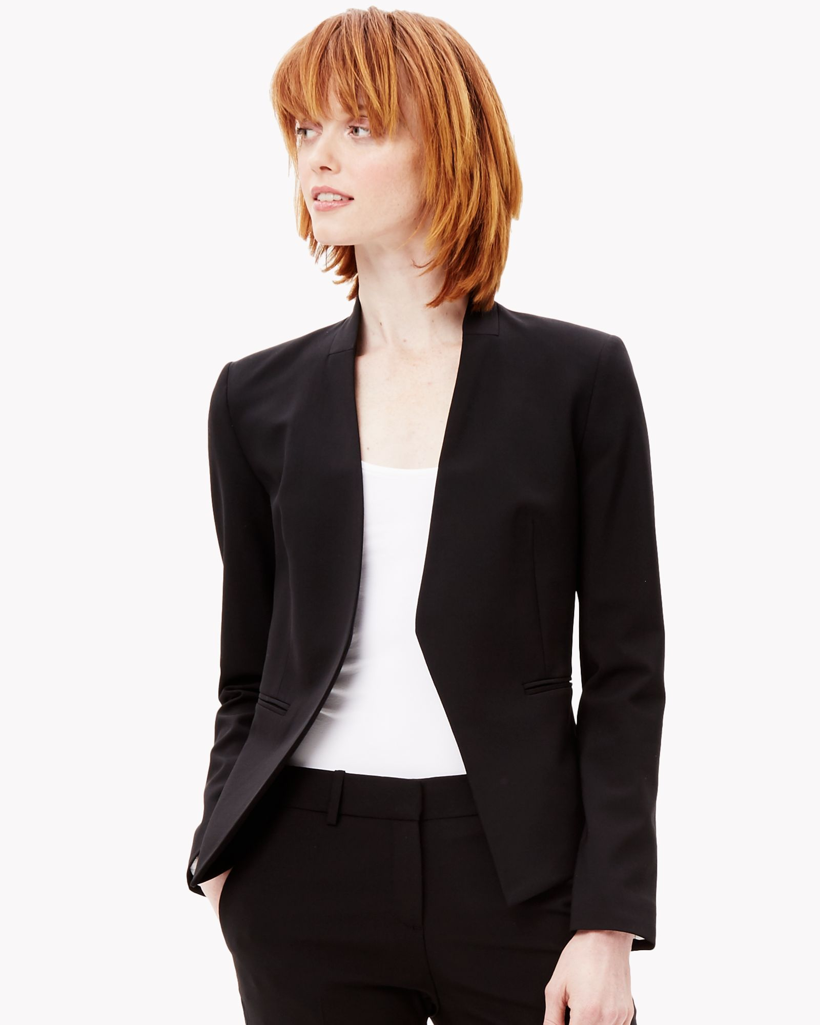 0927bd39ce I bought this and like it. Theory Lanai stretch wool open jacket ...