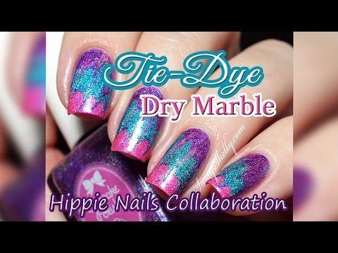 Tie Dye Hippie Nails Dry Marble Drag Marble Nail Art Tutorial
