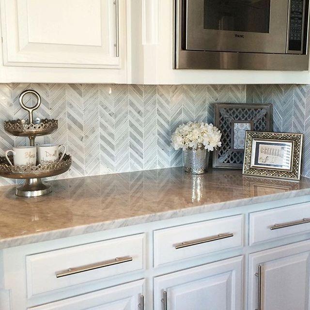 Marble Chevron Mosaic Backsplash Mosaic Backsplash Kitchen Kitchen Remodel Kitchen Design