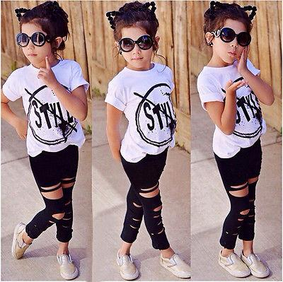 Internet 2PC Toddler Kids Girls T-shirt Tops+Long Pants Leggings Outfit 2-6 Years Kids Clothes 5 year, Black
