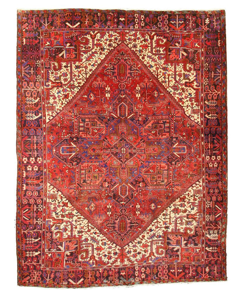 Hand Knotted Wool Red Traditional Oriental Heriz Rug 10 1 X 12 8