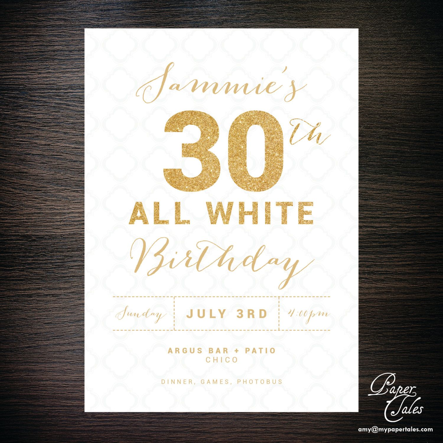 All White Party, White and Gold Glitter, 30th Birthday Invitation ...