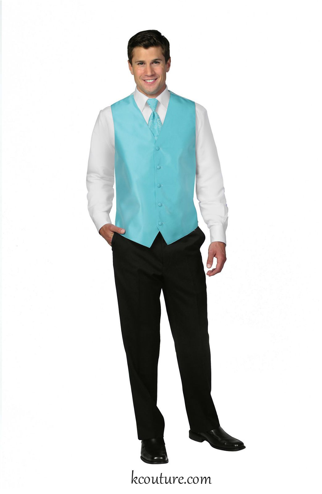 Mens\' deluxe satin vest and tie in sky blue - kcouture.com   Bridal ...