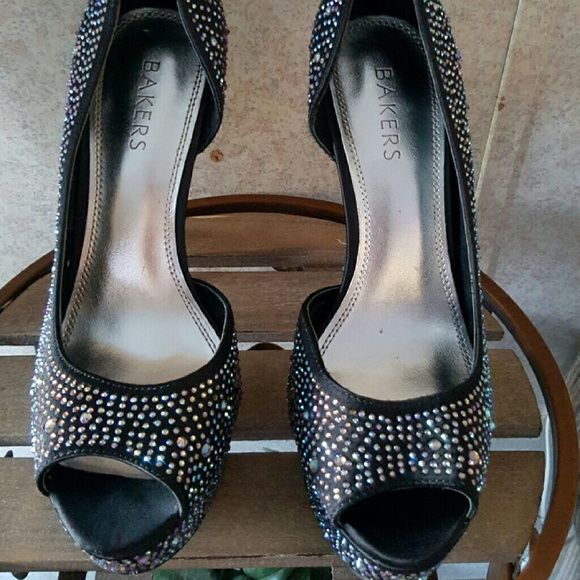 3e03bc4e74b Bakers Black sparkle Heels Bakers Bejeweled satin Black Heels used worn for  only 3 time Kept
