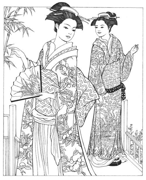 Japanese Coloring Book Pages. Creative Haven Japanese Kimono Designs Coloring Book  Books for Adults books and