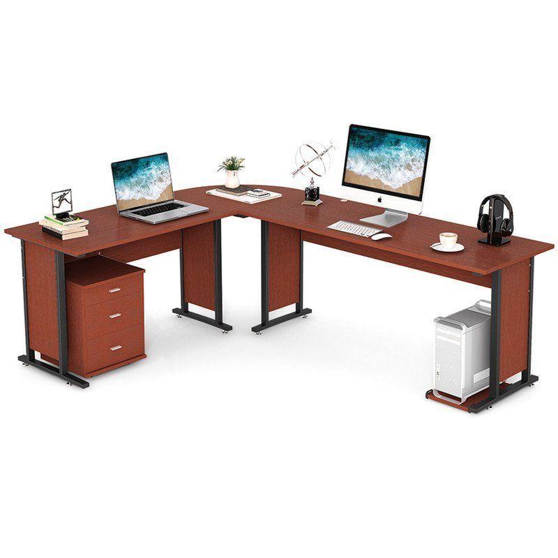 Large Modern L-Shaped Desk CornerTable for Home Office Wood  Metal