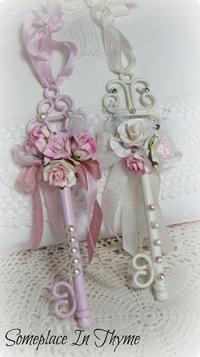 Photo of Shabby Key Ornaments-Christmas,ornaments,roses,pink,white,ribbon,gift,holiday,de…