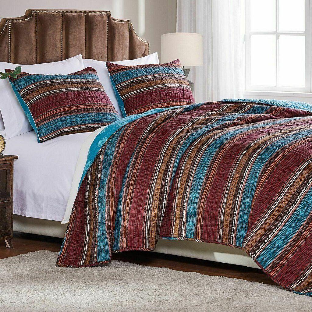 Southwestern Lodge Stripe Teal Brown Quilt Set Quilt