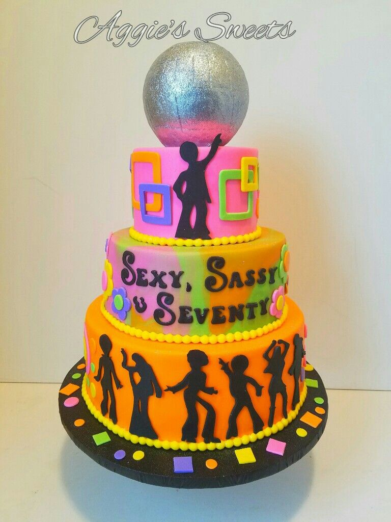 70 S Disco Birthday Cake Aggie S Sweets In 2019 75th