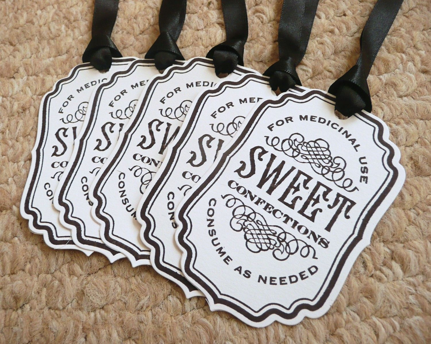 Sweet Confections Tags - Black and White vintage style labels ...