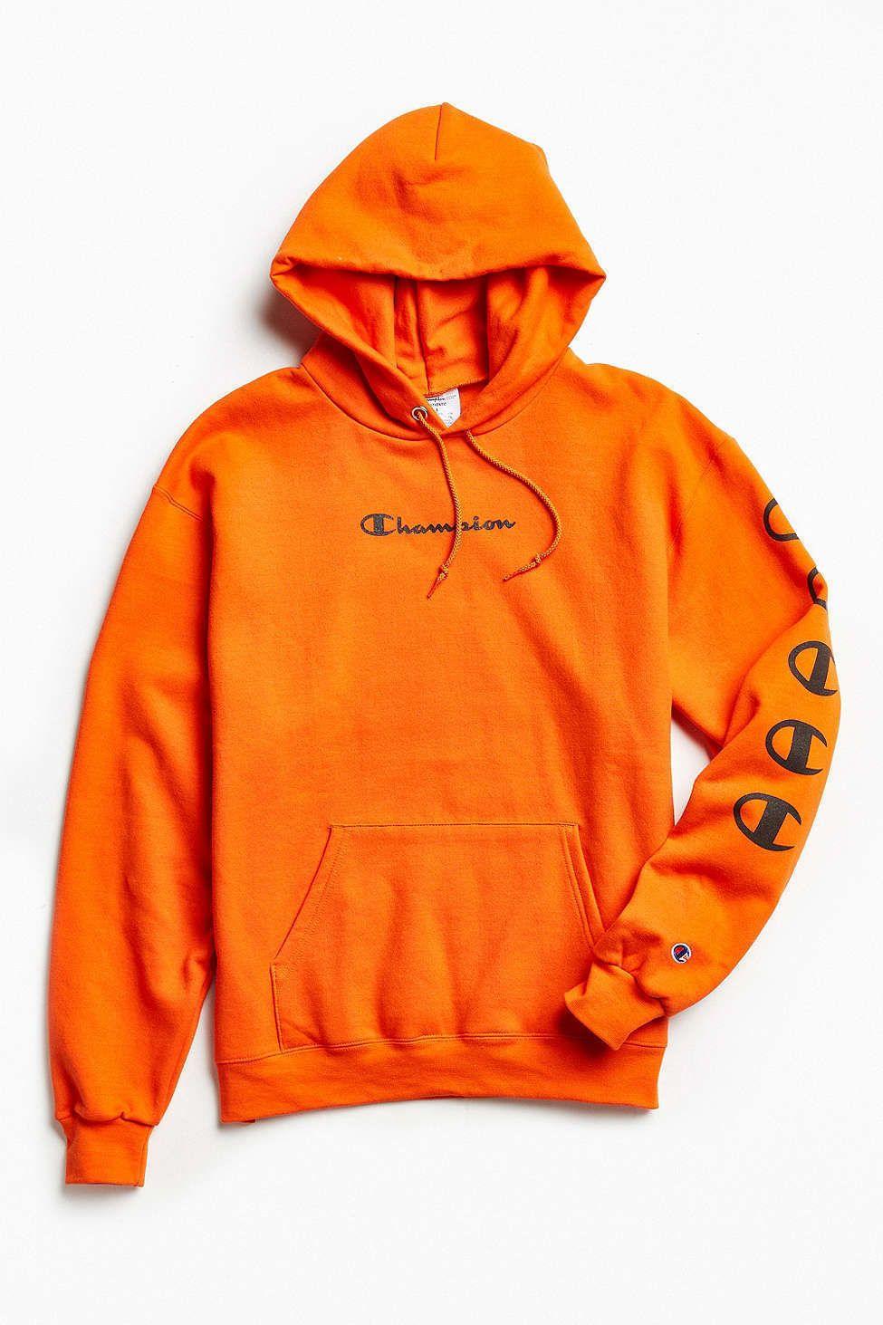 NWT Champion Repeat C Logo Hoodie Sweatshirt Supreme Orange Size ...