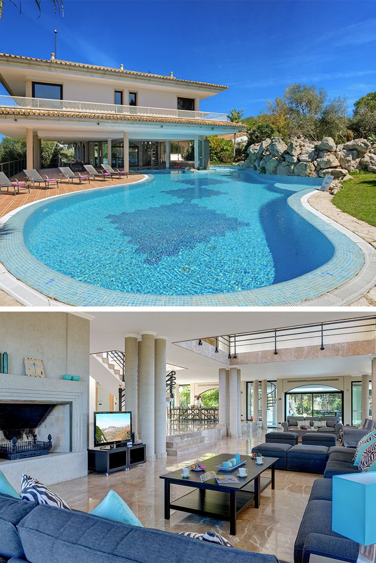 This luxury villa with private pool in Mallorca is without exaggeration one of the most magnificent properties in the area. It benefits from a large covered and open adjoined swimming pools surrounded by well-kept lawns and gardens in extensive grounds. The location is totally private and offers wonderful open views across open countryside as far as the coastline around Alcudia and Puerto Pollensa.