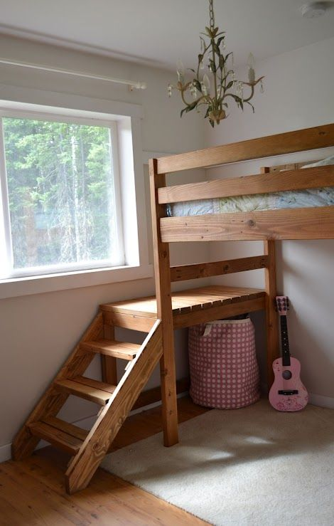 Camp Loft Bed With Stair Junior Height Loft Bed Plans Diy Loft Bed Loft Bed Stairs