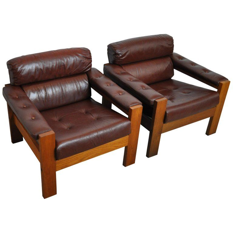 Scandinavian Leather And Oak Lounge Chairs 1970s In 2020 Wood Lounge Chair Leather Lounge Lounge Chair