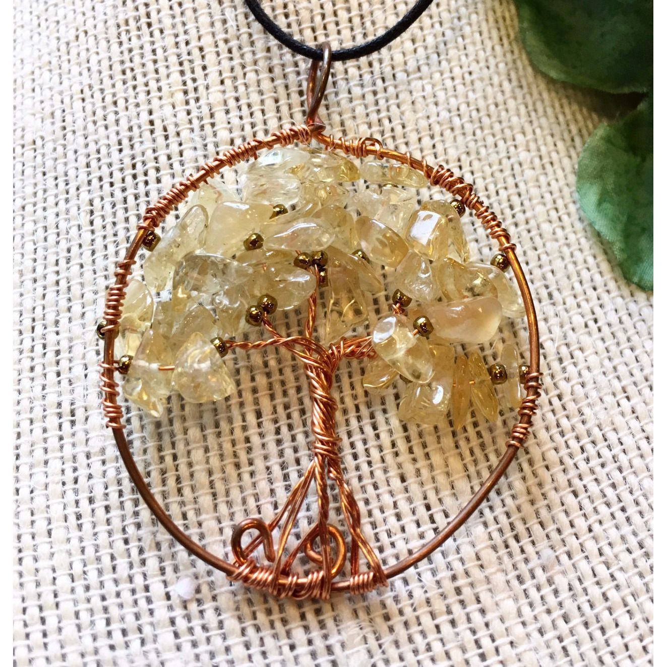 Citrine and Copper Tree of Life Pendant