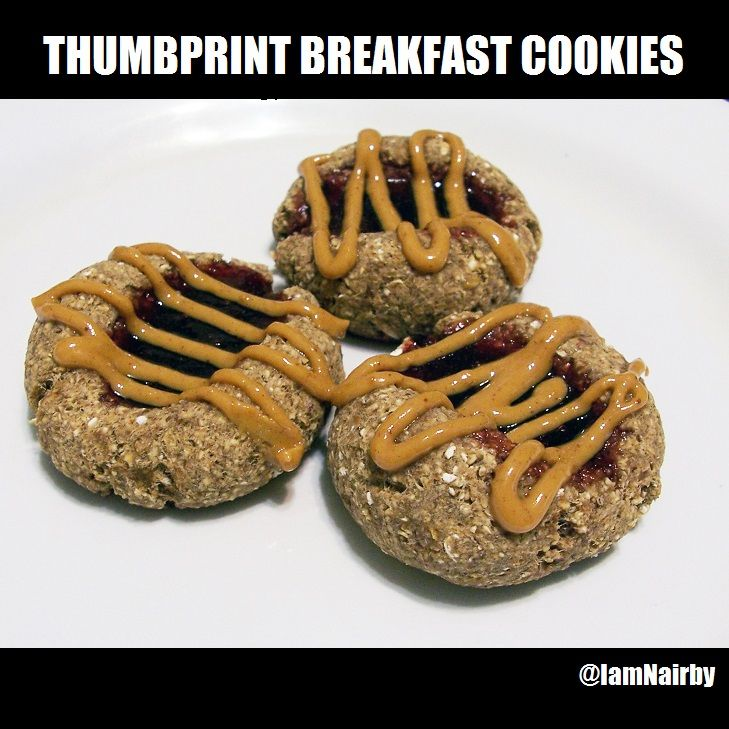Thumbprint Breakfast Cookies. Vegan and glutenfree. Could