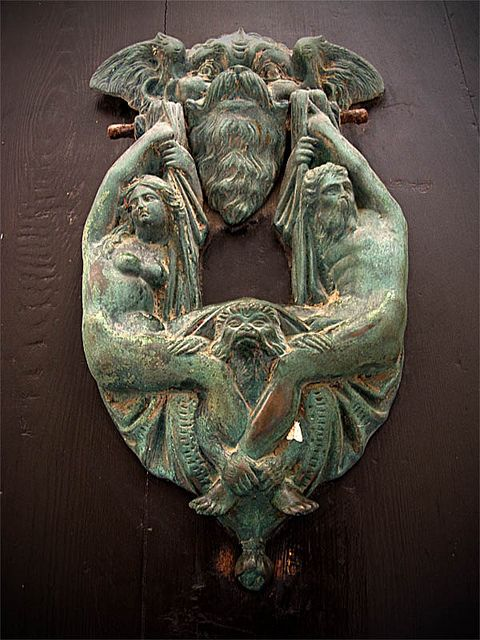 ✔ beautiful and ornate figural door knocker from Malta...It's all in the details