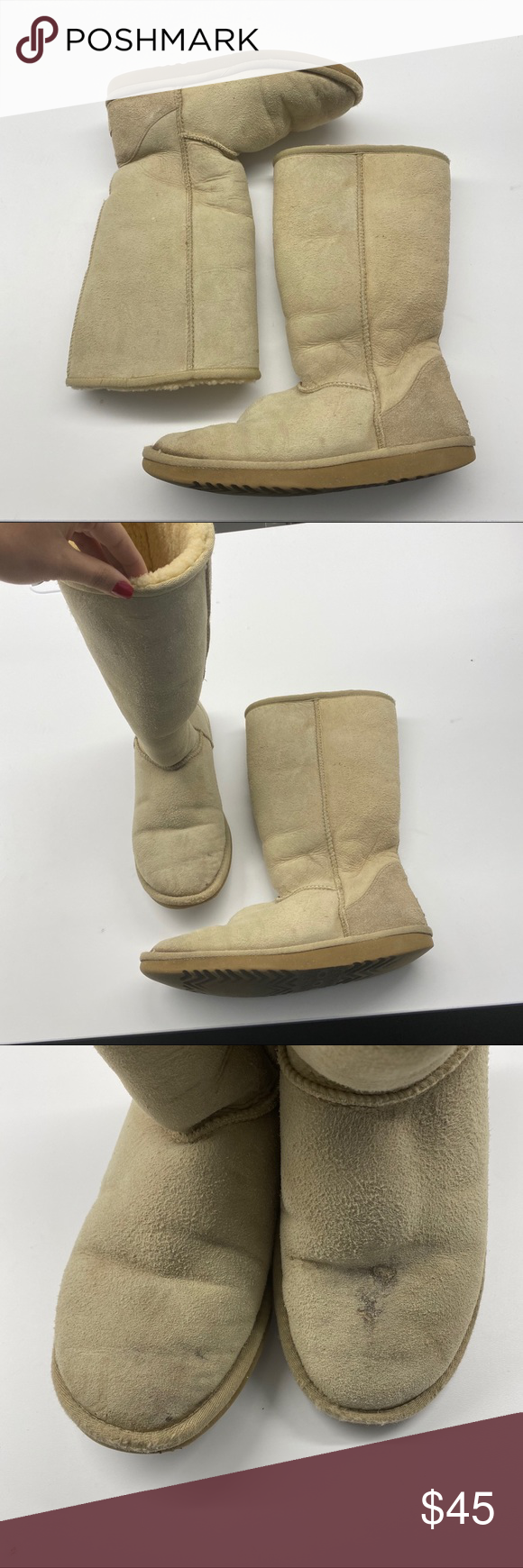 TAN UGGS SIZE 9. VERY WORN/USED CONDITION. STAINS THROUGHOUT. UGG Shoes Winter & Rain Boots #myposhpicks