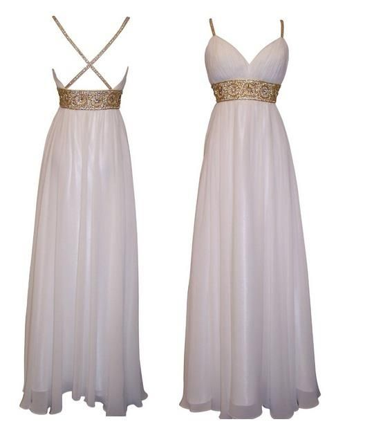 Long white prom dress or a wedding reception dress for Evening dresses for wedding reception
