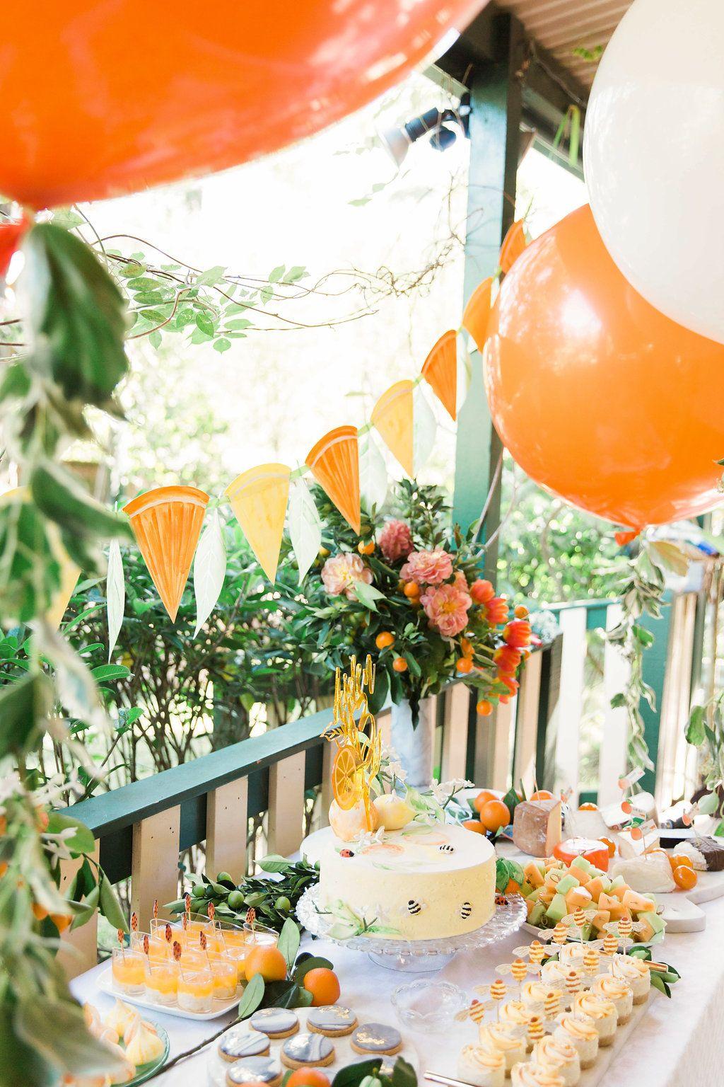 Garden decor for baby shower  In the Orange Garden  Baby shower  Pinterest  Orange Party and