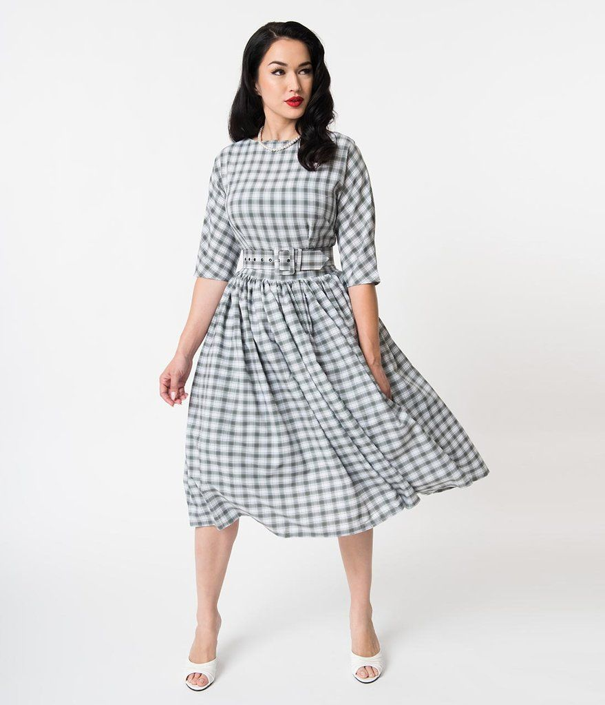 80aca1dd2791 Unique Vintage 1940s Style Grey   White Plaid Sleeved Sally Swing Dress