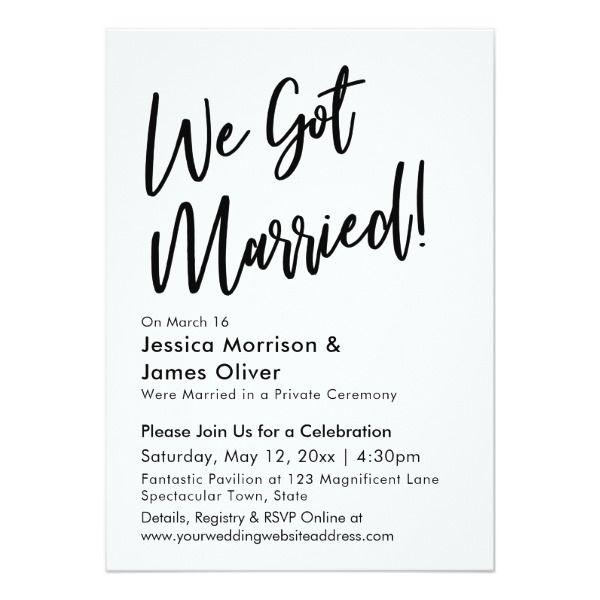 Modern Calligraphy Minimalist We Got Married Invitation
