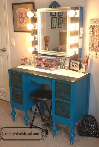 DIY Makeup Vanity Redo with Lighted Mirror