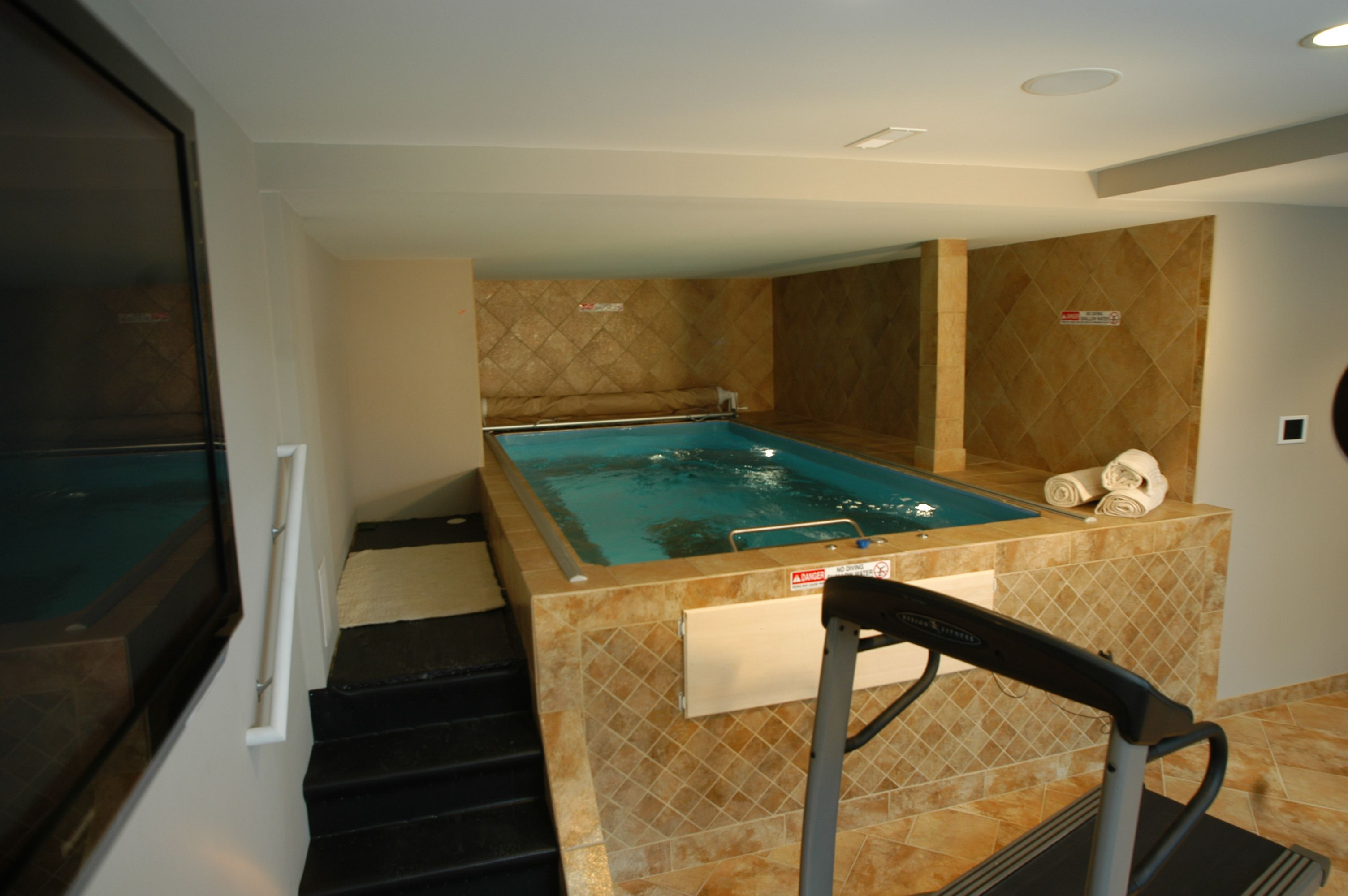 Indoor Hot Tub Located In The Basement Finishing Basement Indoor Hot Tub Basement Design