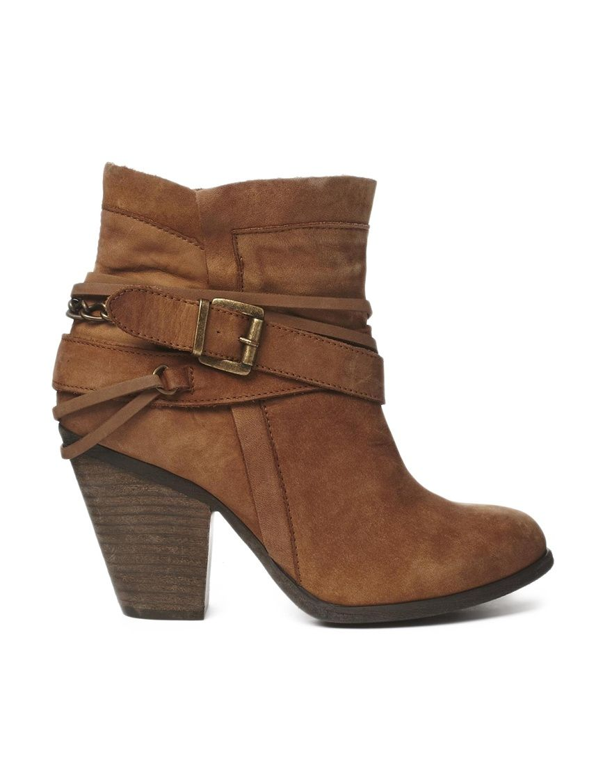 Steve Madden Strapped Heeled Tan Ankle Boots