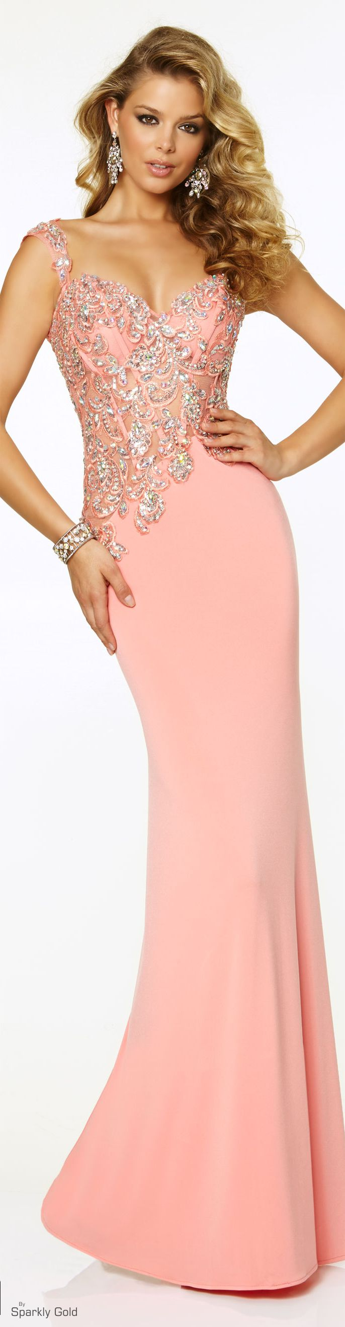 MORI LEE | PAPARAZZI | Bejewelled Coral Jersey-Knit Gown | #97016 ...