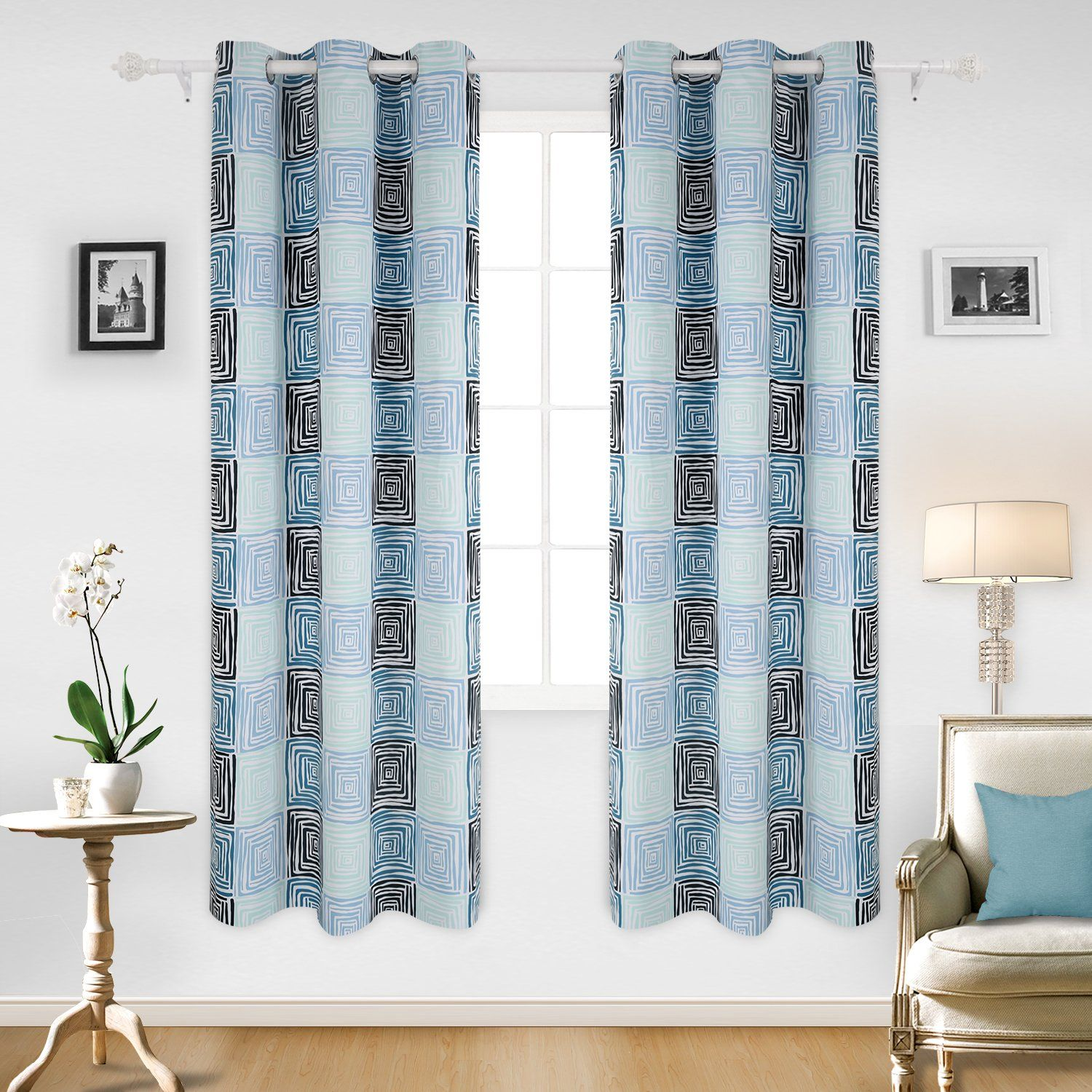 Deconovo Colorful Square Pattern Curtains Grommet Top Blackout Curtains Thermal Insulated Curtains For Office 4 Girls Room Curtains Insulated Curtains Curtains