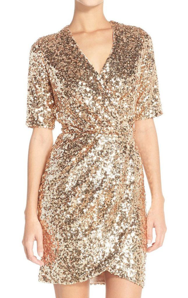 MACloth Short Sleeves V Neck Sequin Rose Gold Cocktail Dress Wedding Party  Formal Gown 745b5a735