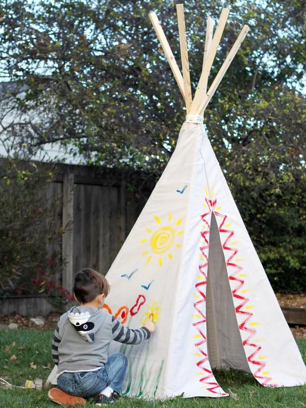 how to make a kid 39 s teepee from a canvas drop cloth diy kid crafts pinterest ext rieur et id e. Black Bedroom Furniture Sets. Home Design Ideas