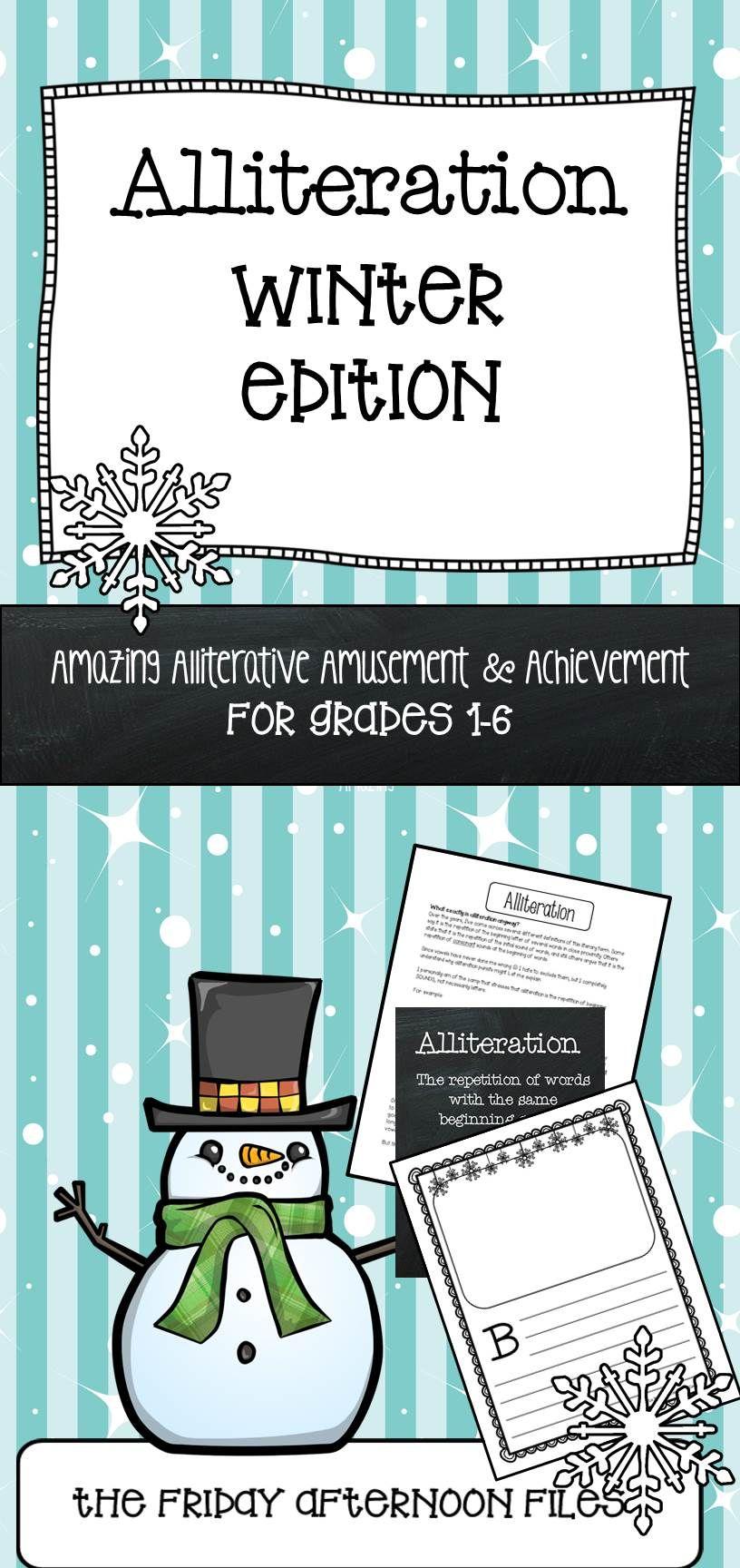 Alliteration: Winter Edition | Alliteration, Winter and Teaching ideas