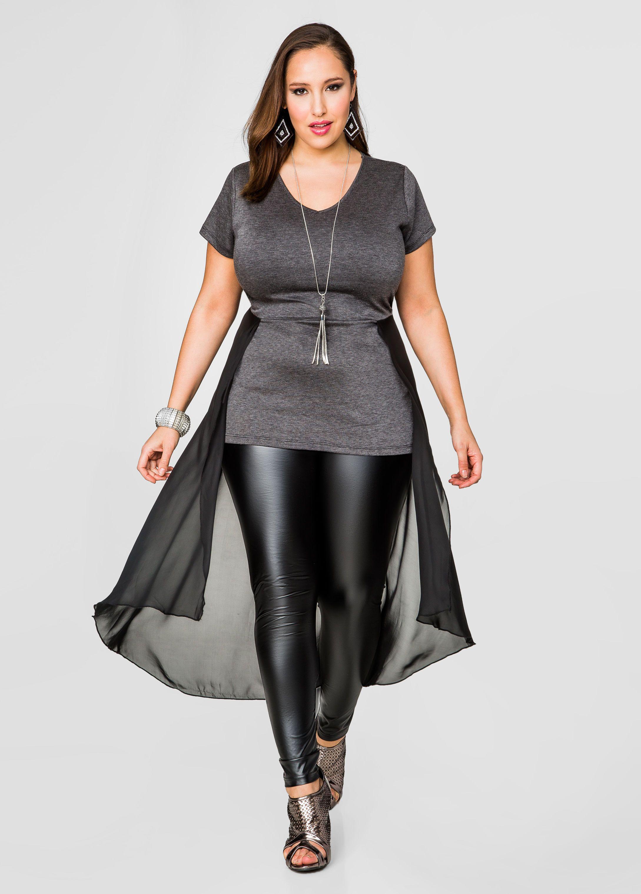 3882ea8a22a Clearance Womens Plus-Size Clothing On Sale. Chiffon Duster Peplum Top - Ashley  Stewart