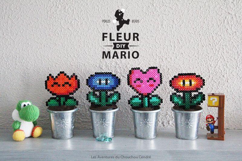 Diy Fleur Mario En Perles A Repasser Schemas De Bijoux En Perles Diy Geek Perle